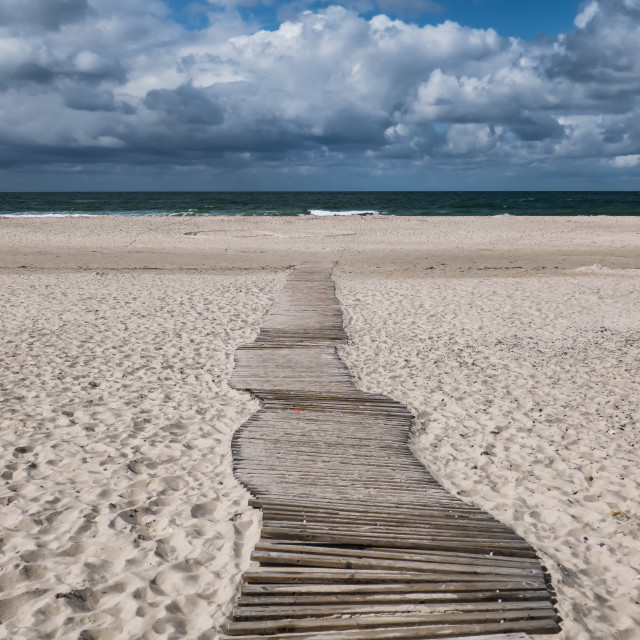"""""""Dunes with pathway at the Danish North Sea coast"""" stock image"""