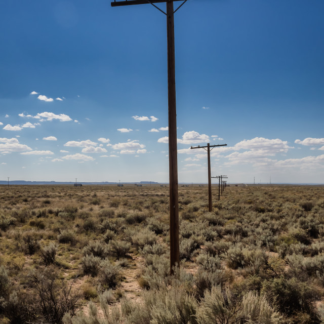 """""""Vintage tlepone masts made from wood at Route 66 in Arizona"""" stock image"""