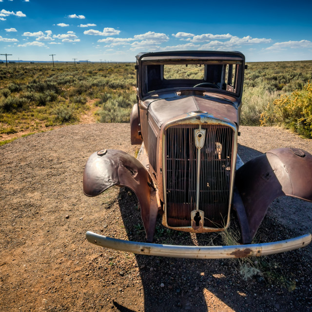 """""""Worn out car wreck on route 66 near Holbrook in Arizona,"""" stock image"""
