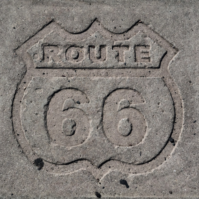 """""""Route 66 sign made in concrete in Arizona"""" stock image"""