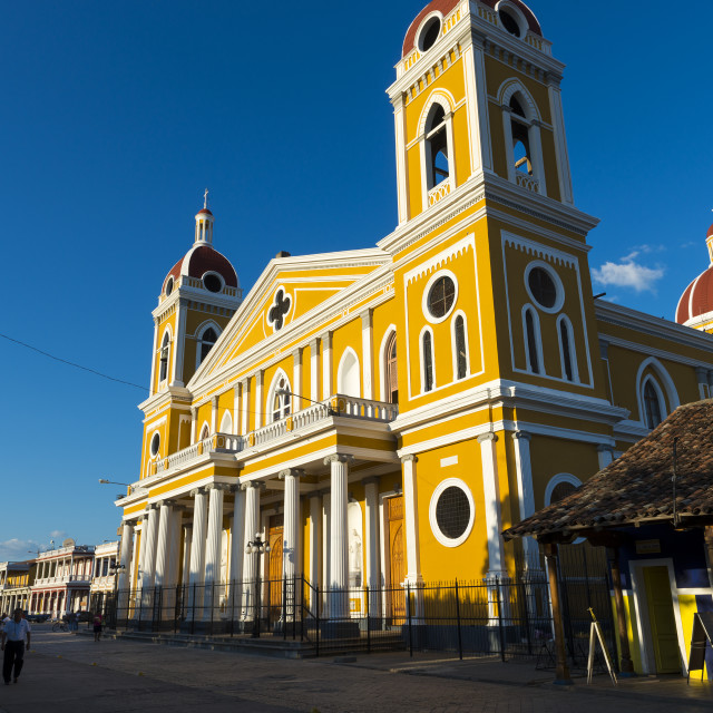 """Granada, Nicaragua - April 2, 2014: The colorful Our Lady of the Assumption Cathedral in the city of Granada, Nicaragua."" stock image"