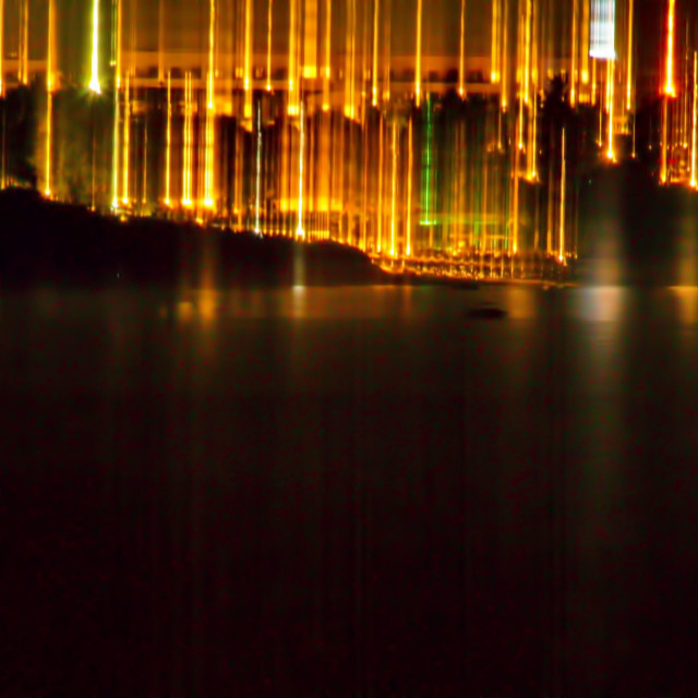 """""""small city lights from a distance"""" stock image"""
