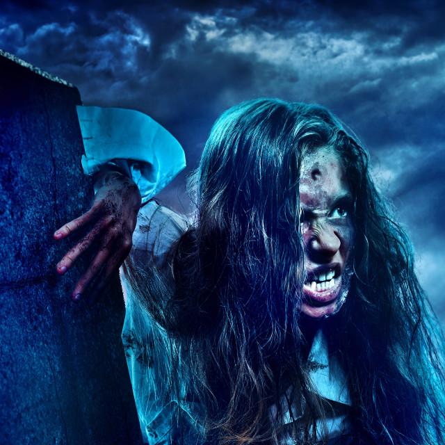 """Undead zombie scary girl on halloween graveyard"" stock image"