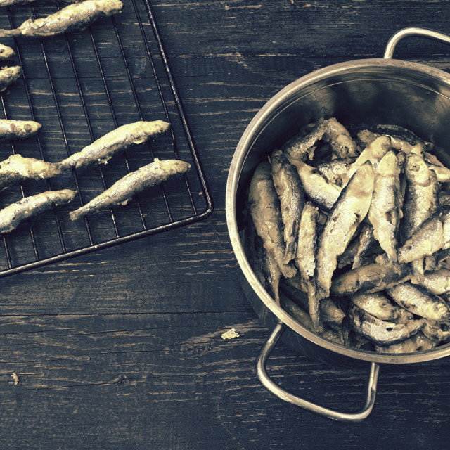 """Just prepared sardines"" stock image"
