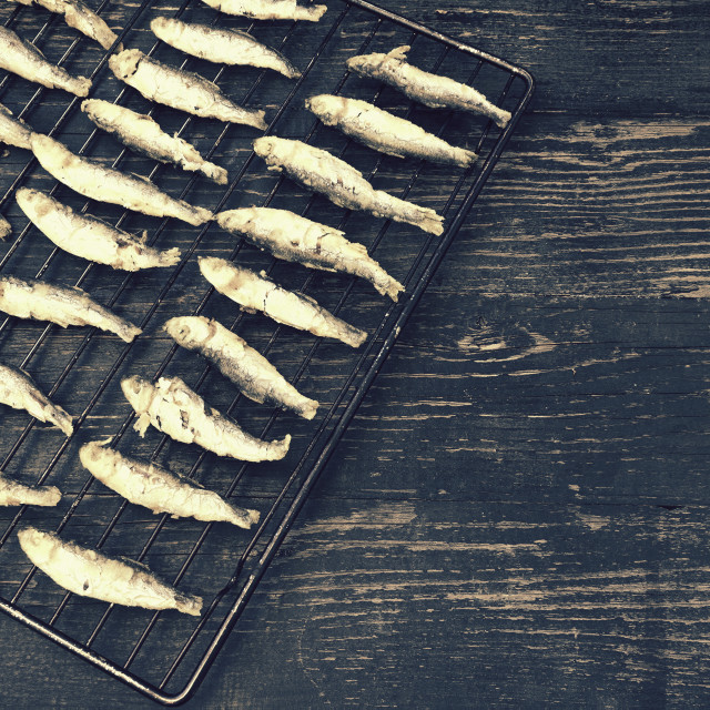 """Grilled sardines"" stock image"