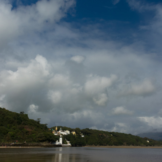 """Portmeirion from beach"" stock image"