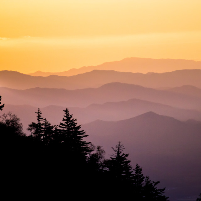 """""""Sunset over Japanese mountains"""" stock image"""