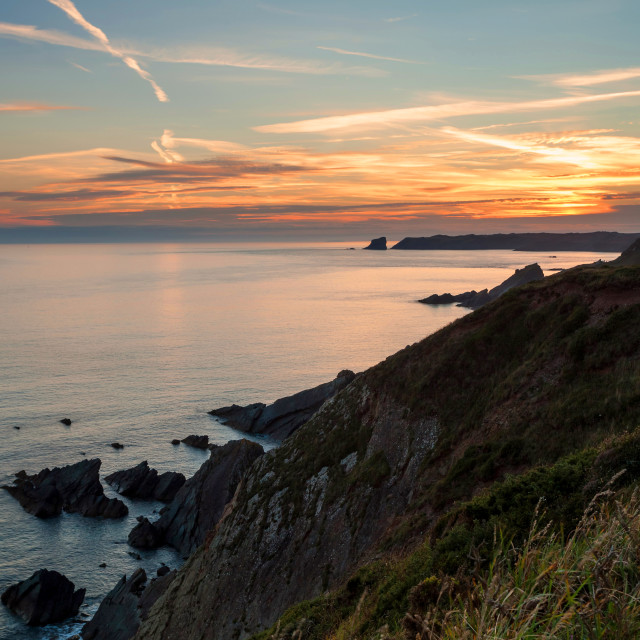 """Skomer Island Sunset"" stock image"