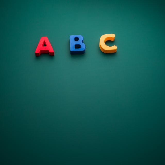 """Creative concept with ABC alphabet text, school theme"" stock image"