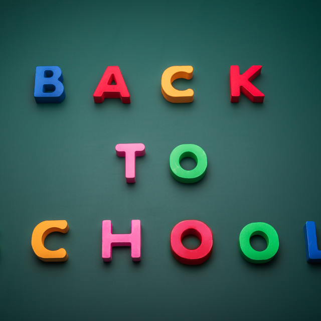 """""""Back to school text write with wooden alphabet in blackboard"""" stock image"""