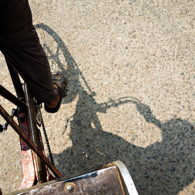 """""""Driving Rickshaw"""" stock image"""