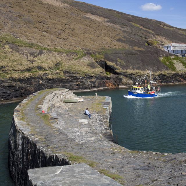 """Boscastle Breakwater"" stock image"