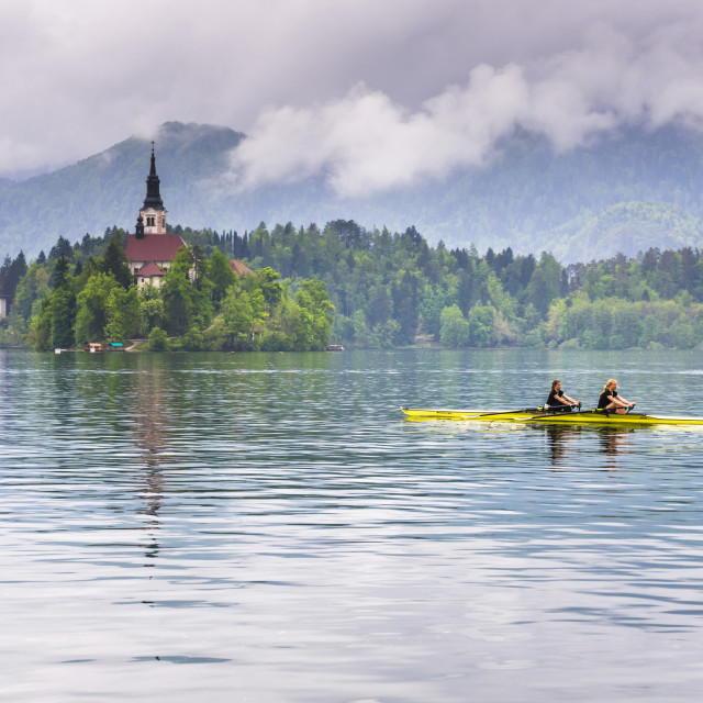 """Canoeists on Lake Bled, Julian Alps, Gorenjska, Slovenia, Europe"" stock image"
