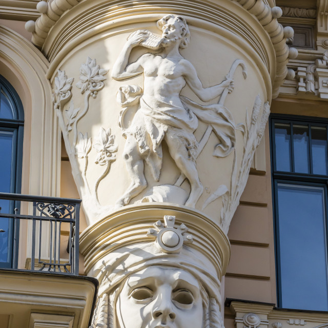 """""""Art Nouveau style architecture locally known as Jugendstil, Riga, Latvia, Europe"""" stock image"""