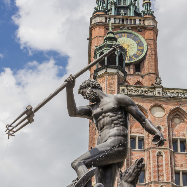"""""""King Neptune Statue in The Long Market, Dlugi Targ, with town hall clock,..."""" stock image"""