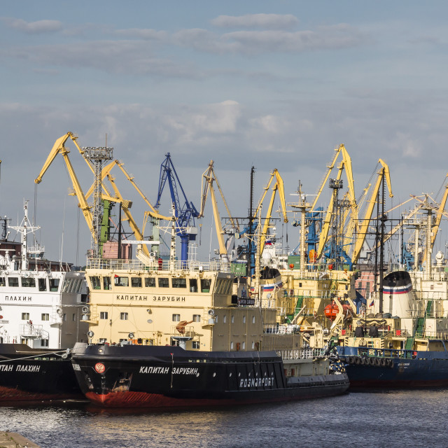 """The busy shipyards in the Sea Port of St. Petersburg, on the Neva River,..."" stock image"