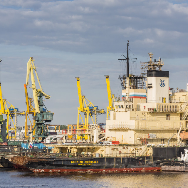 """""""The busy shipyards in the Sea Port of St. Petersburg, on the Neva River,..."""" stock image"""