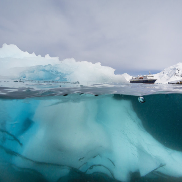 """""""Above and below view of glacial ice near Wiencke Island, Neumayer Channel,..."""" stock image"""