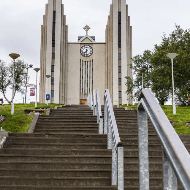"""External view of the Lutheran Church of Akureyri, Akureyrarkirkja, Iceland,..."" stock image"