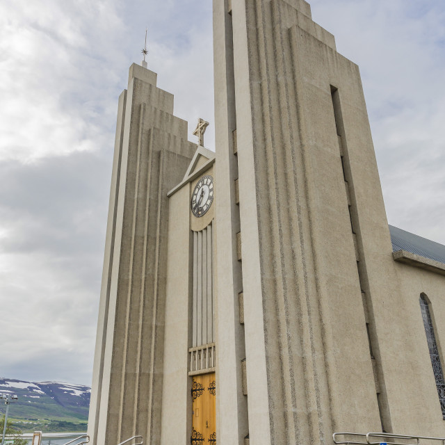 """External view of the Lutheran Church of Akureyri, Akureyrarkirkja, Iceland,..."" stock image"
