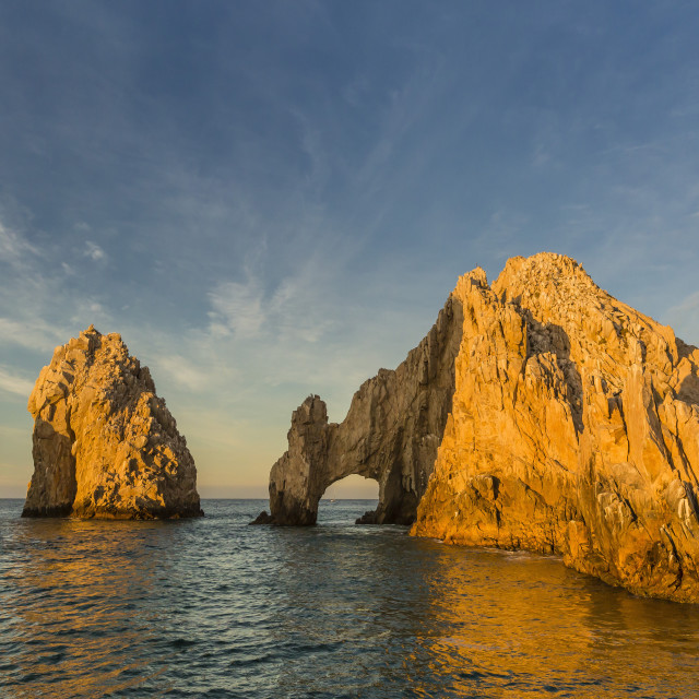 """Sunrise at Land's End, Cabo San Lucas, Baja California Sur, Gulf of..."" stock image"