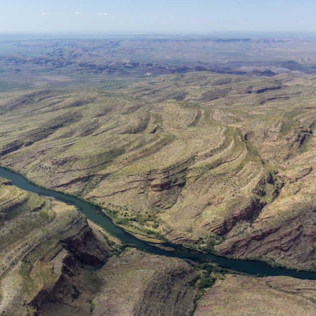 """""""Aerial view of the man-made Ord River between Lake Kununurra and a Diversion..."""" stock image"""