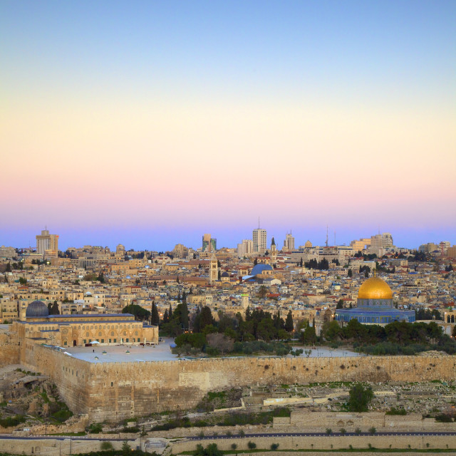 """View of Jerusalem from The Mount of Olives, Jerusalem, Israel, Middle East"" stock image"