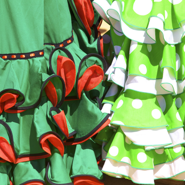 """Traditional Spanish dress, Annual Horse Fair, Jerez de la Frontera, Cadiz..."" stock image"