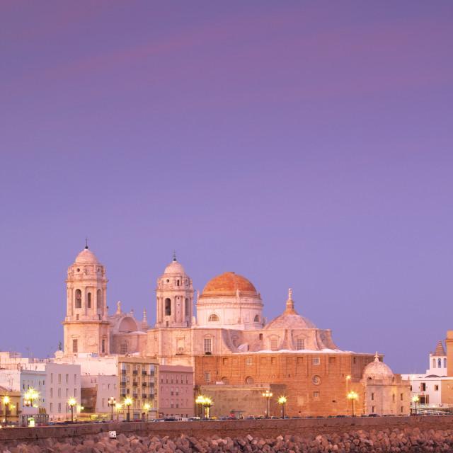 """Church of Santa Cruz and Cathedral, Cadiz, Cadiz Province, Andalucia, Spain,..."" stock image"