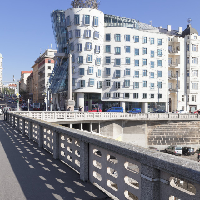 """""""Dancing House (Ginger and Fred) by Frank Gehry, Prague, Bohemia, Czech..."""" stock image"""