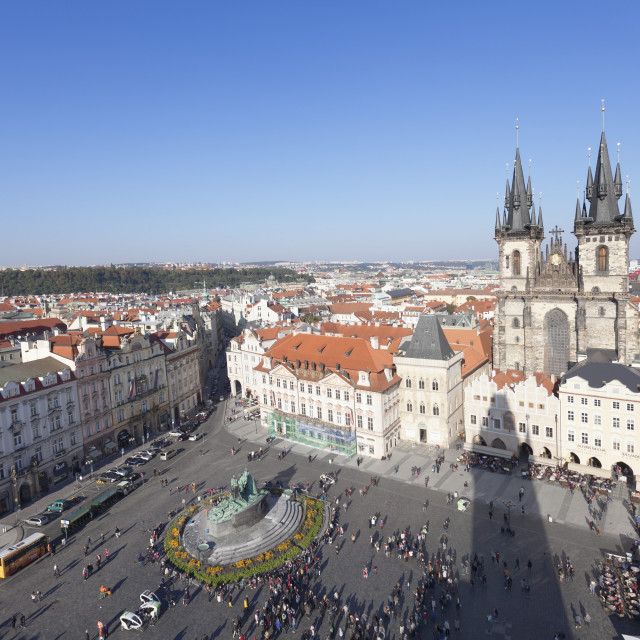 """View over the Old Town Square (Staromestske namesti) with Tyn Cathedral, Jan..."" stock image"