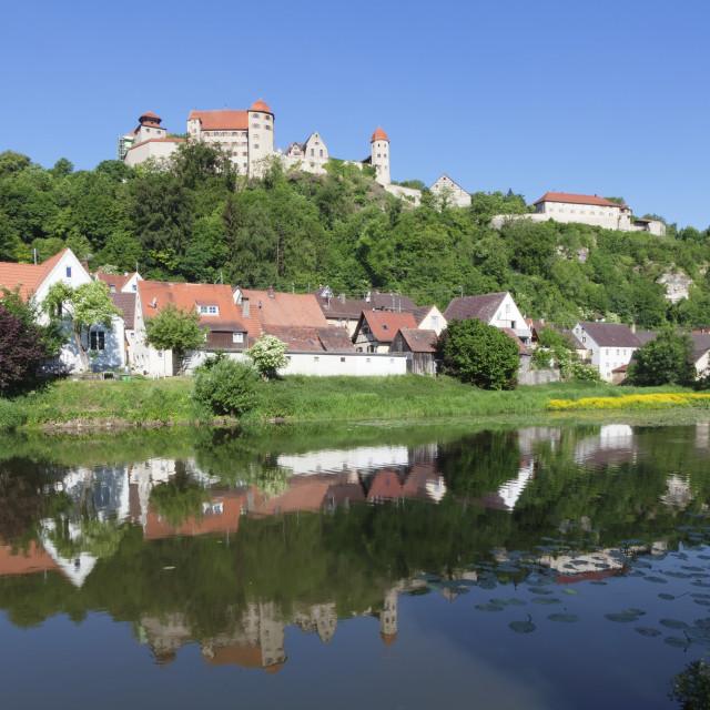 """Harburg Castle reflecting in Wornitz River, Harburg, Romantic Road, Bavarian..."" stock image"
