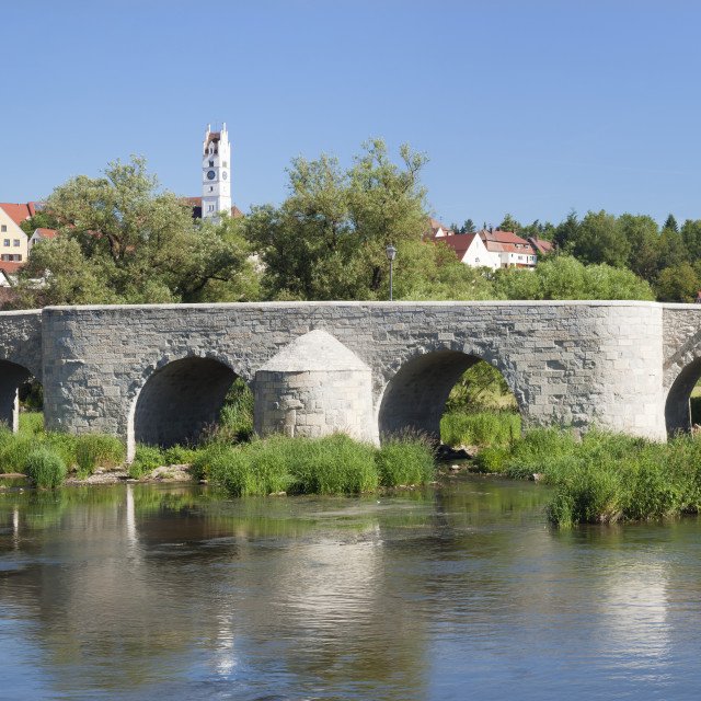 """Bridge over Wornitz River, Harburg, Romantic Road, Bavarian Swabia, Bavaria,..."" stock image"