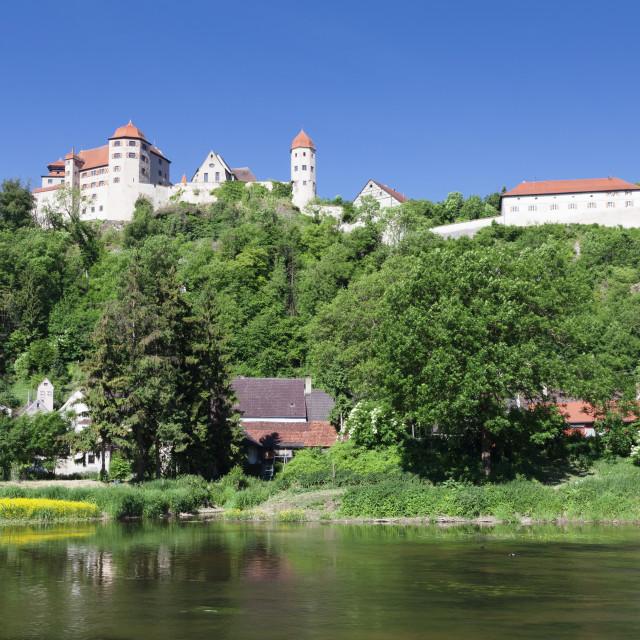 """Harburg Castle at Wornitz River, Harburg, Romantic Road, Bavarian Swabia,..."" stock image"
