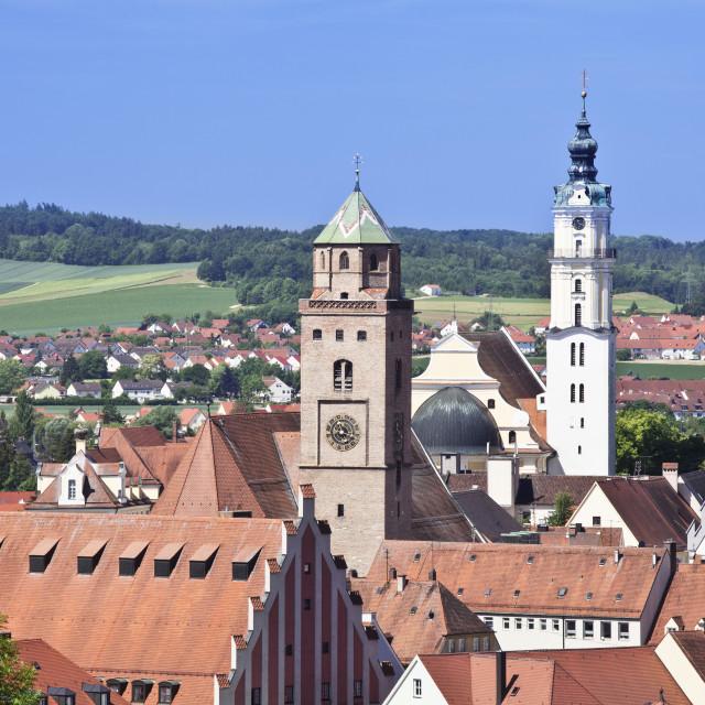 """Donauworth with Liebfrauenmunster Church and pilgrimage church Heilig Kreuz,..."" stock image"