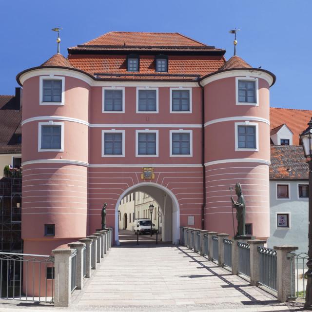"""Rieder Tor gate, Donauworth, Romantic Road, Bavarian Swabia, Bavaria,..."" stock image"