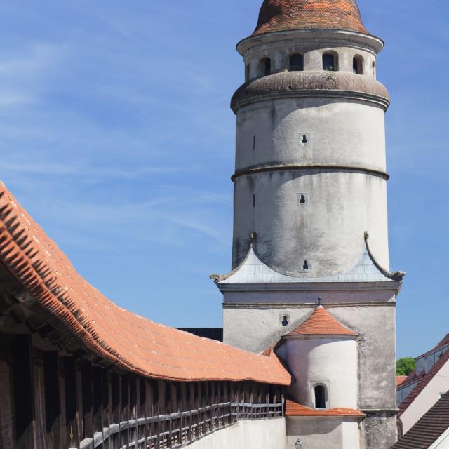 """Lopsinger Tor Gate and town wall, Nordlingen, Romantic Road, Bavarian Swabia,..."" stock image"
