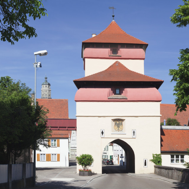 """""""Reimlinger Tor gate, Nordlingen, Romantic Road, Bavarian Swabia, Bavaria,..."""" stock image"""