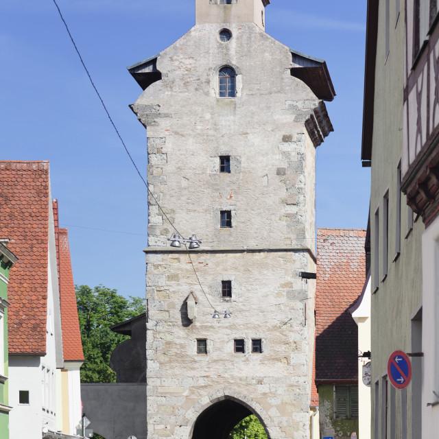 """""""Deininger Tor gate, Nordlingen, Romantic Road, Bavarian Swabia, Bavaria,..."""" stock image"""
