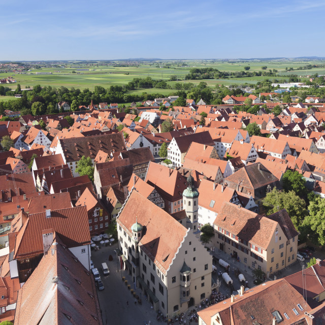"""""""Old town with Town Hall and Lopsinger Tor Gate, Nordlingen, Romantic Road,..."""" stock image"""
