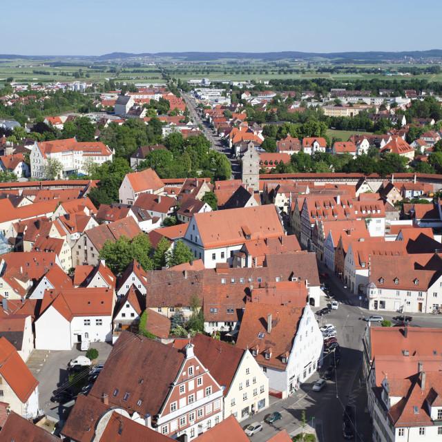 """""""Old town with Reimlinger Tor Gate, Nordlingen, Romantic Road, Bavarian..."""" stock image"""