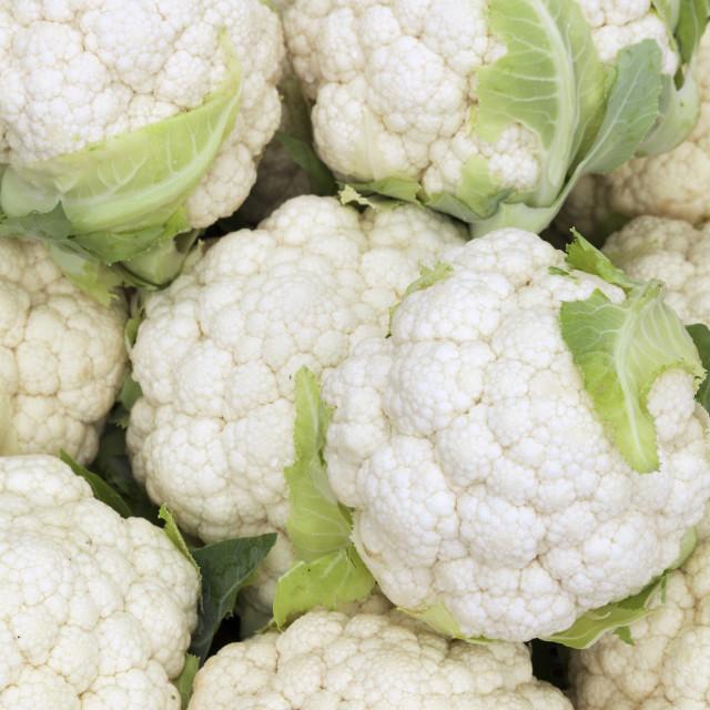 """Cauliflower at a market stall, weekly market, market place, Esslingen, Baden..."" stock image"