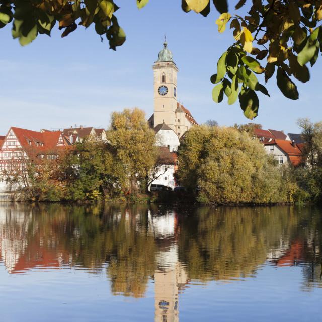 """Municipal church of Stadtkirche St. Laurentius, Nurtingen, Neckar River,..."" stock image"