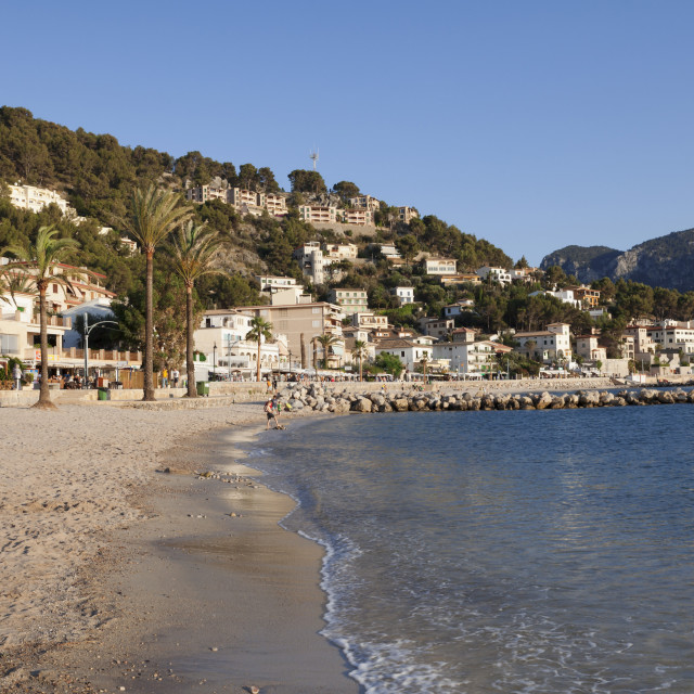 """Playa d'Es Traves Beach at Passeig Es Traves Promenade, Port de Soller,..."" stock image"