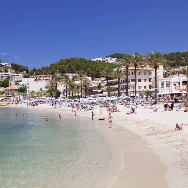 """Playa d'Es Traves Beach at Promenade Passeig Es Traves, Port de Soller,..."" stock image"