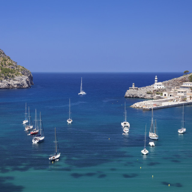 """""""View over the port to the lighthouses at Cap Gros and Punt de sa Creu, Port..."""" stock image"""