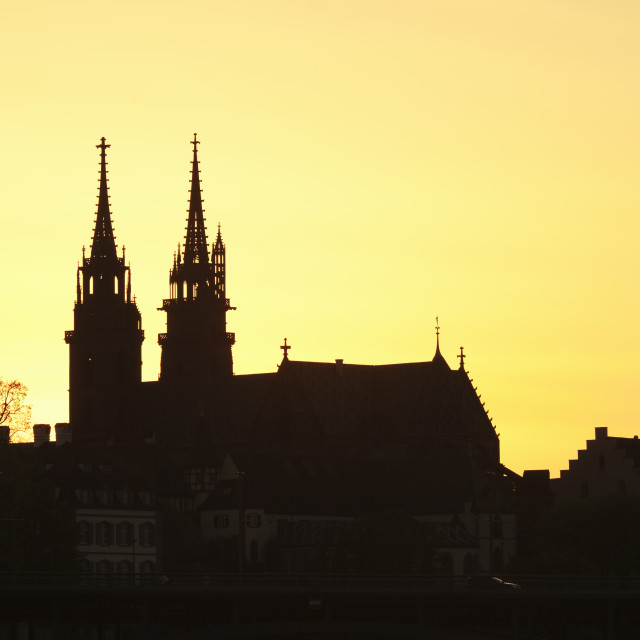 """""""Silhouette of the Cathedral at sunset, Grossbasel, Basel, Canton Basel Stadt,..."""" stock image"""