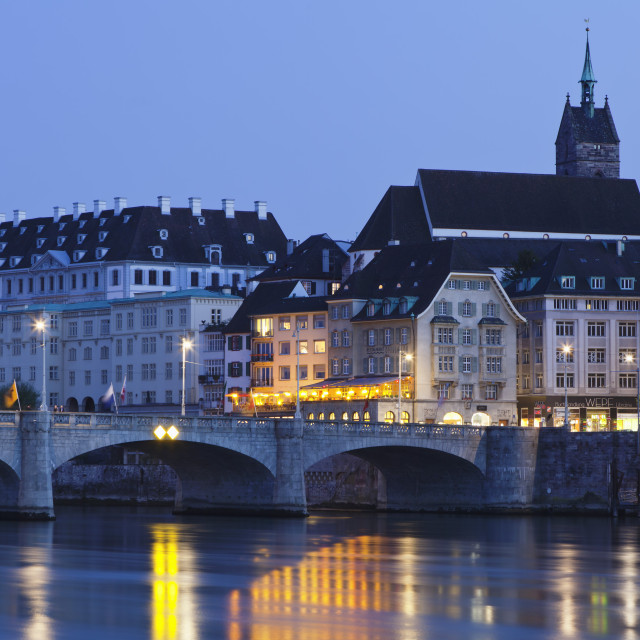 """Mittlere Rheinbrucke Bridge and Martinskirche Church, Grossbasel, Basel,..."" stock image"