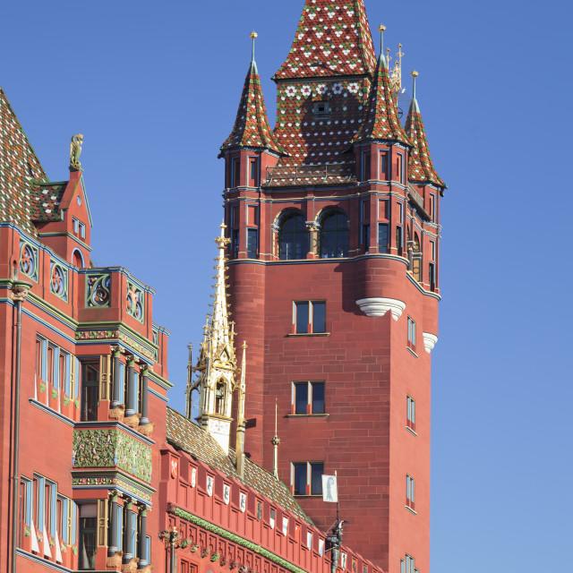 """Town Hall at Ratausplatz Square, Basel, Canton Basel Stadt, Switzerland, Europe"" stock image"