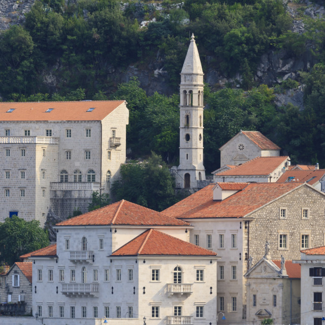 """Church of Our Lady of the Rosary lit by early morning light, Perast, Bay of..."" stock image"